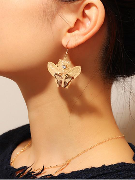 womens Artificial Diamond Butterfly Hook Earrings - GOLD