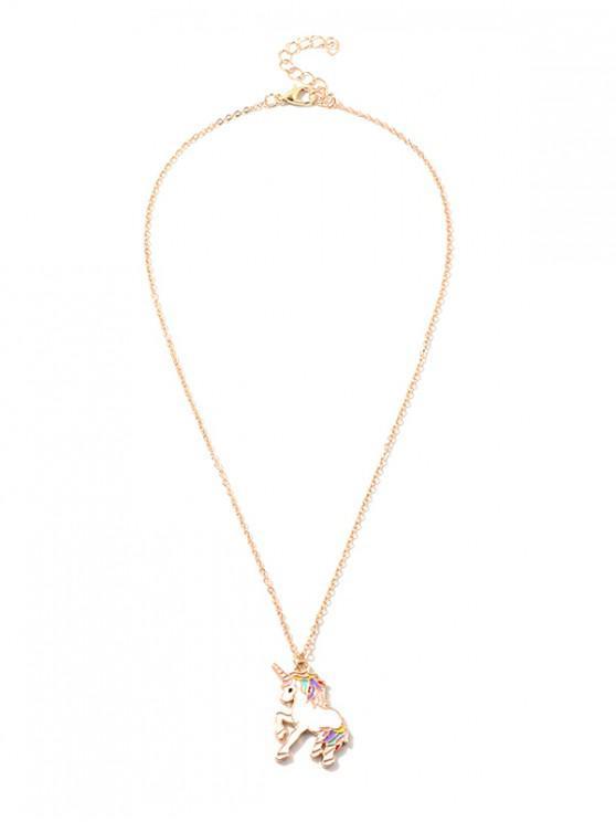 online Unicorn Shaped Pendant Chain Necklace - GOLD
