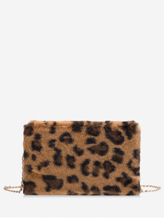 ขน Faux เสือดาวพิมพ์กระเป๋ากล่อง - สีน้ำตาล