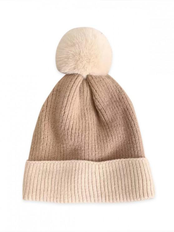 shops Fleece Turn Up Edge Knitted Bobble Hat - COFFEE