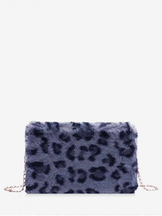 Faux Blana Leopard Print Box Bag - Ardezie albastră