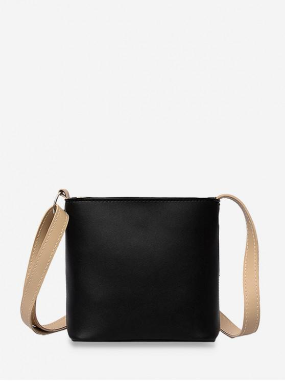 fashion PU Leather Mini Bucket Bag - BLACK
