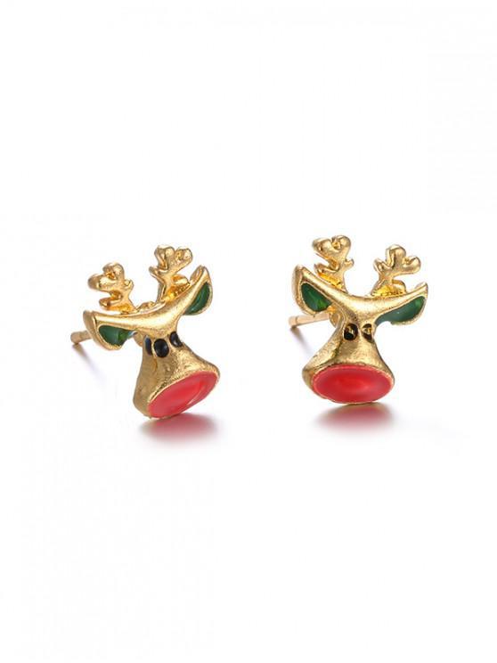 fancy Christmas Elk Metal Stud Earrings - GOLD