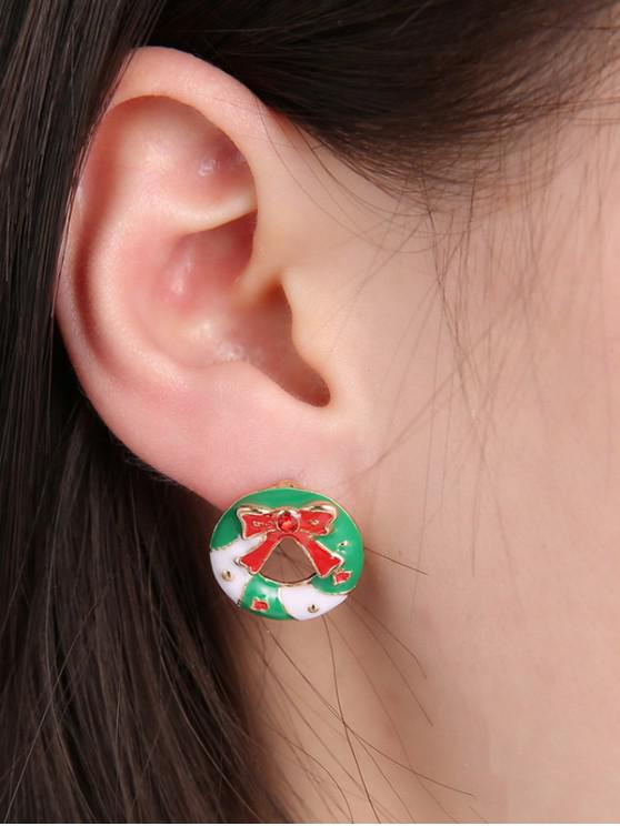 buy Christmas Garland Bowknot Stud Earrings - GOLD