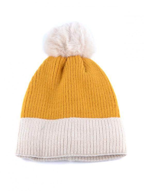 lady Fleece Turn Up Edge Knitted Bobble Hat - YELLOW