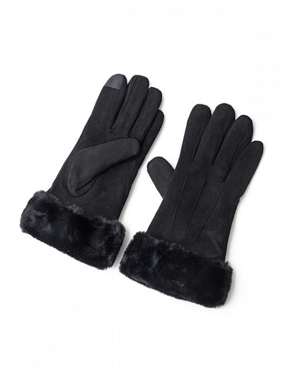 shop Solid Color Fluffy Full Finger Gloves - BLACK
