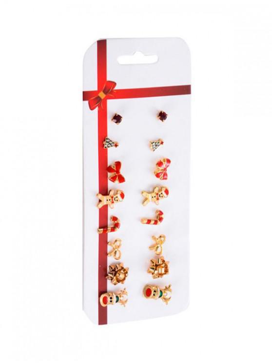 trendy Christmas Pattern Stud Earrings Set - GOLD