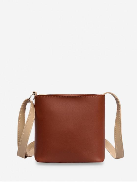 chic PU Leather Mini Bucket Bag - BROWN