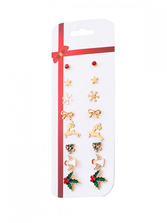 fancy Rhinestone Christmas Pattern Stud Earrings Set - GOLD
