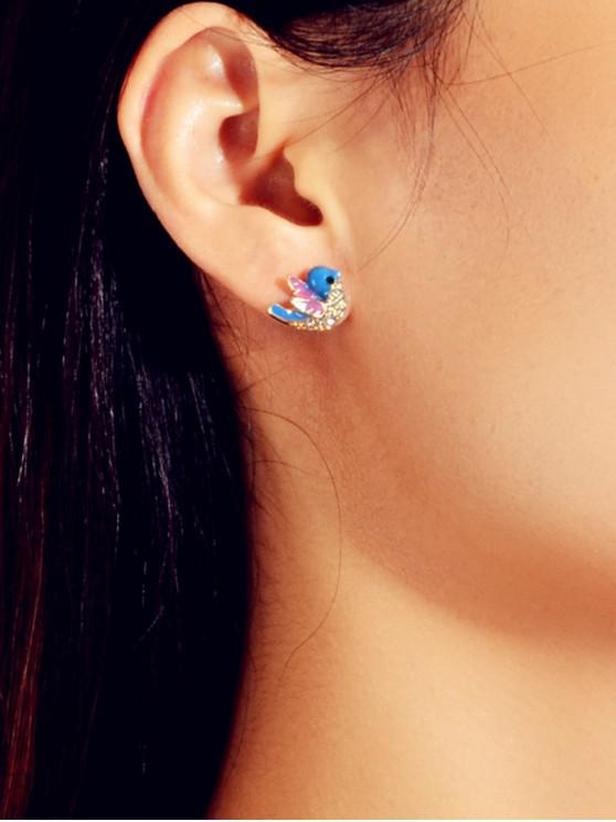 unique Artificial Diamond Bird Stud Earrings - COBALT BLUE
