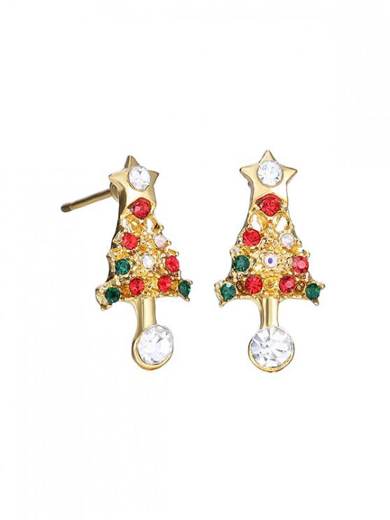 affordable Christmas Tree Star Rhinestone Earrings - GOLD