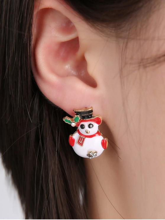 women Christmas Snowman Rhinestone Stud Earrings - GOLD
