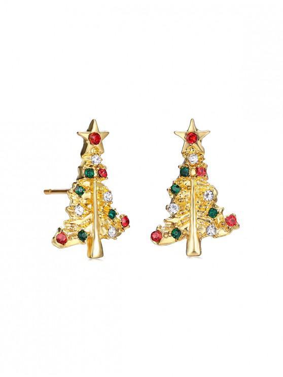 women's Rhinestone Alloy Christmas Tree Earrings - GOLD
