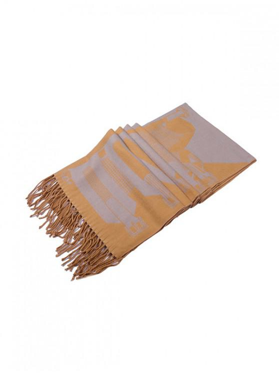 new Patterned Fringe Faux Cashmere Long Scarf - BEE YELLOW REGULAR