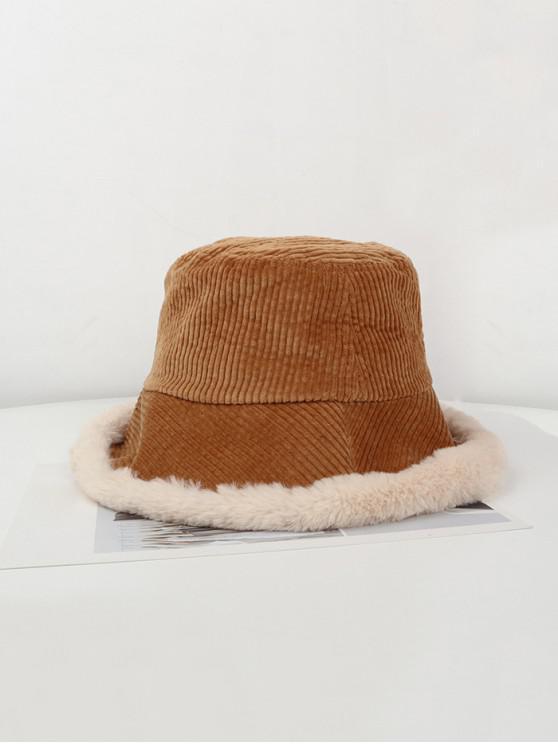 outfit Plush Edge Corduroy Bucket Hat - CAMEL BROWN