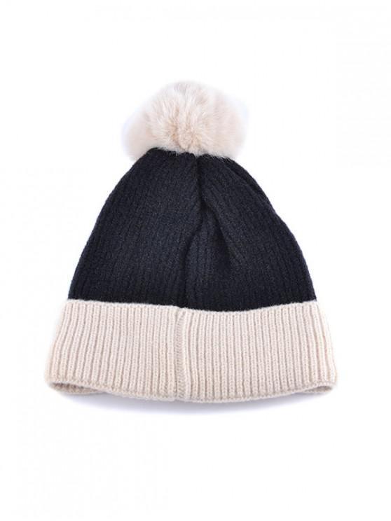 fancy Fleece Turn Up Edge Knitted Bobble Hat - BLACK