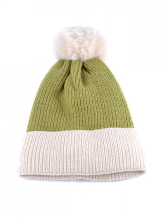 ขนแกะ Turn Up ขอบถักหมวก Bobble - สีเขียว