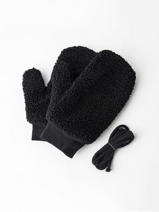 ฤดูหนาวขนแกะ Mitts ของแข็ง - สีดำ
