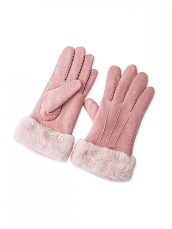 ladies Solid Color Fluffy Full Finger Gloves - LIGHT PINK