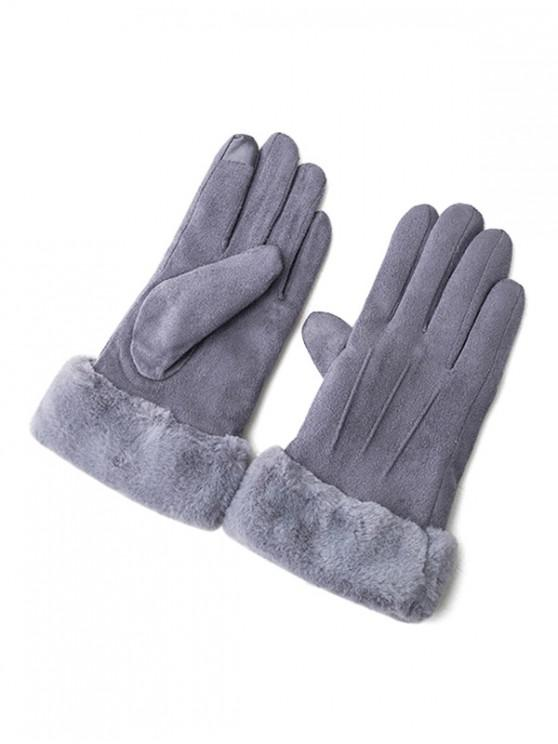 best Solid Color Fluffy Full Finger Gloves - JET GRAY