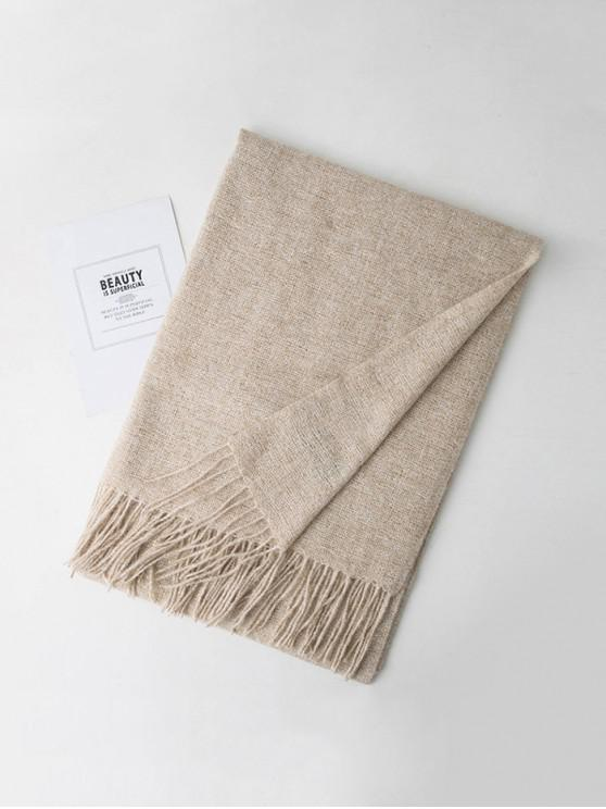 latest Simple Heathered Tassel Scarf - WARM WHITE