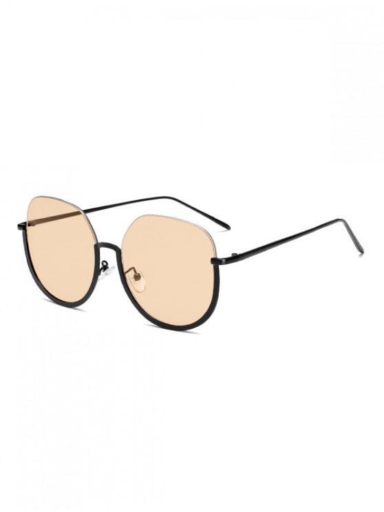 trendy Brief Metal Semi-rimless Sunglasses - DEEP PEACH