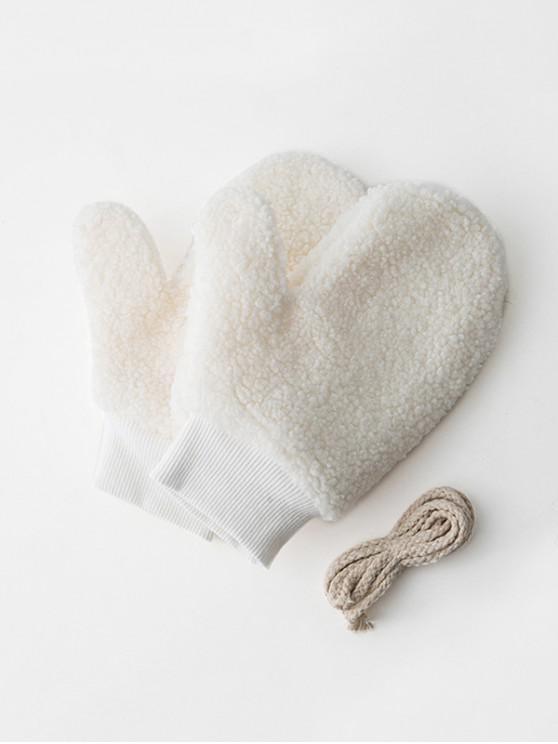 sale Winter Fleece Solid Mitts - MILK WHITE
