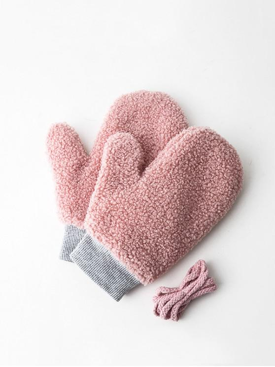 affordable Winter Fleece Solid Mitts - ROSE