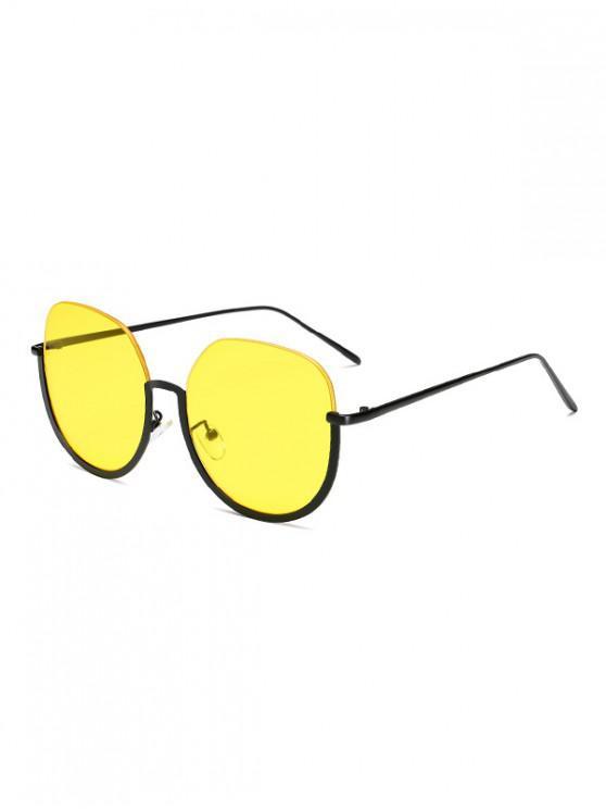 hot Brief Metal Semi-rimless Sunglasses - YELLOW
