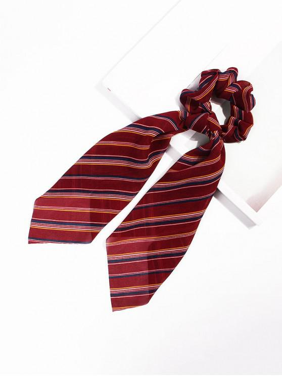outfit Striped Pattern Bowknot Ribbon Intestine Ring Hair Band - RED