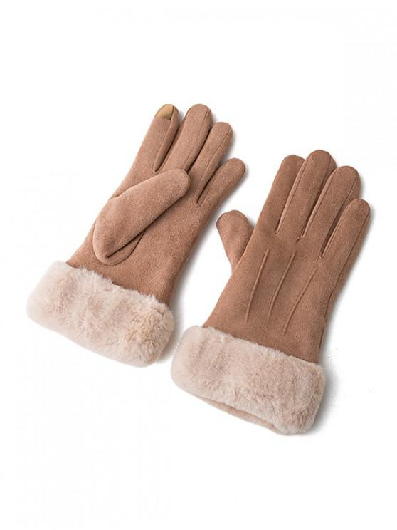 outfits Solid Color Fluffy Full Finger Gloves - BROWN