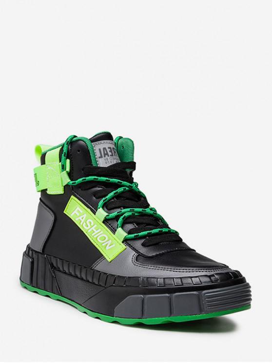 buy Color-blocking High Top Skate Shoes - BLACK EU 42