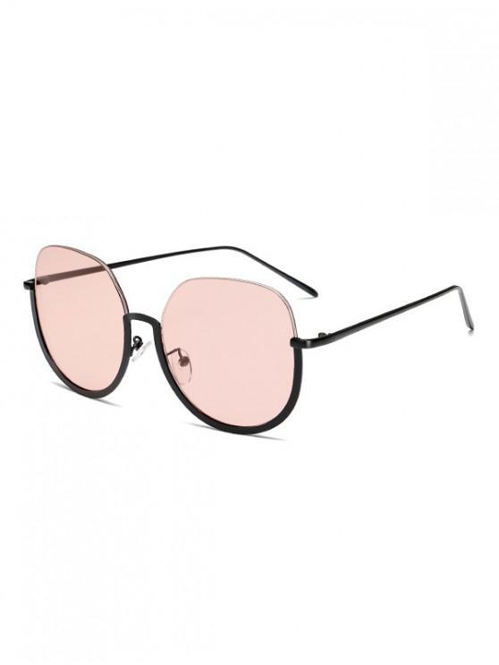 new Brief Metal Semi-rimless Sunglasses - PIG PINK