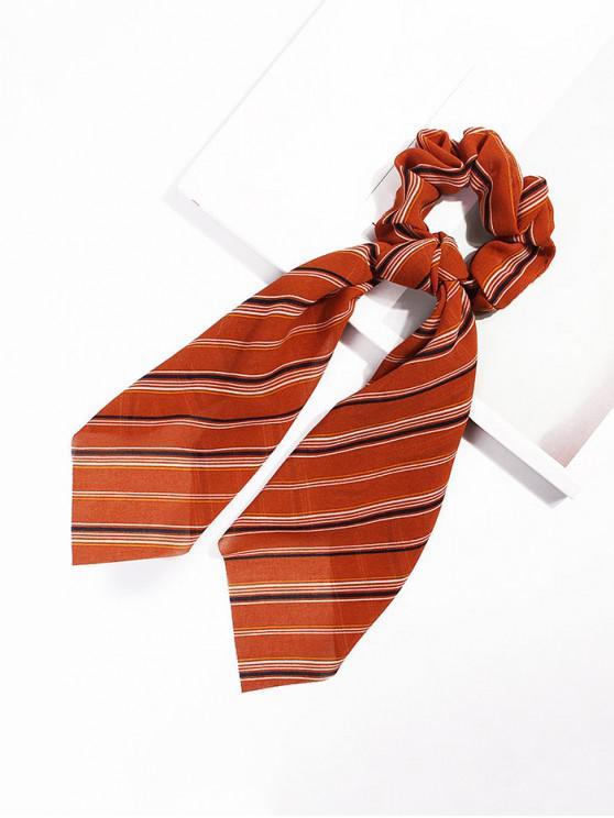 latest Striped Pattern Bowknot Ribbon Intestine Ring Hair Band - PAPAYA ORANGE