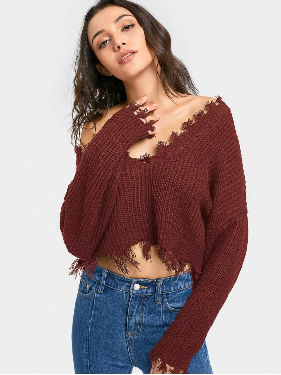 trendy Oversized Frayed Cropped Pullover Sweater - CHESTNUT ONE SIZE