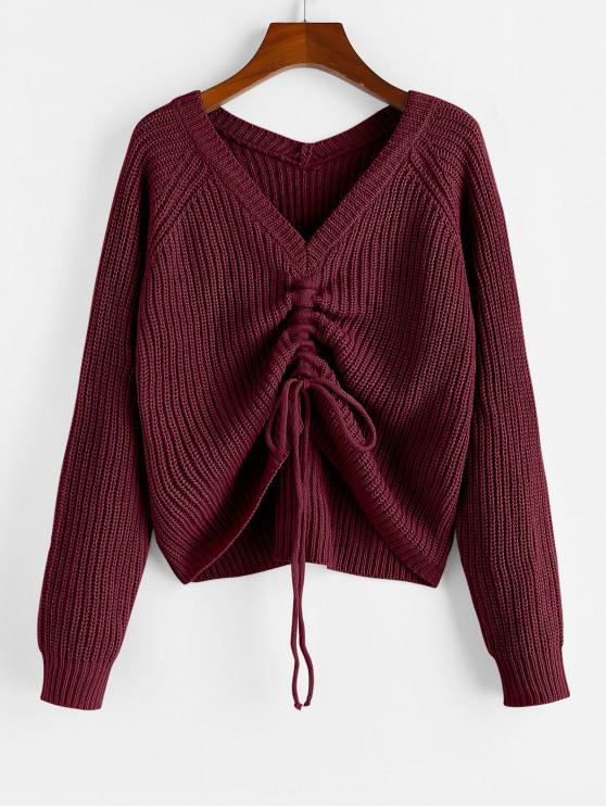 chic ZAFUL V Neck Shirred Ribbed High Low Sweater - RED WINE M