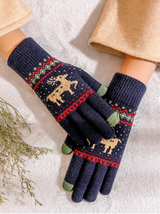 hot Christmas Wapiti Pattern Gloves - NAVY BLUE