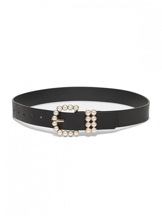 sale Faux Pearl Buckle PU Belt - BLACK