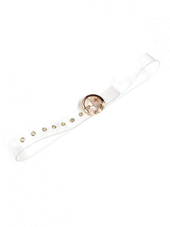 women's Faux Pearl Round Buckle Transparent Belt - TRANSPARENT