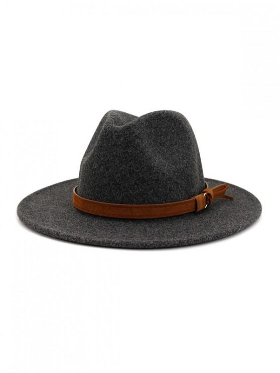 online Strap Decorated Fuzzy Jazz Hat - CARBON GRAY