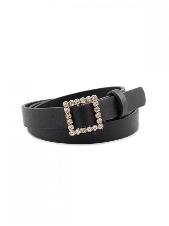 Vestido Hebilla Cuadrada Brillantes Cinturón - Negro