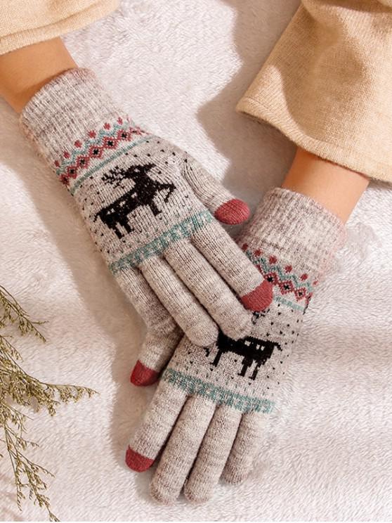outfits Christmas Wapiti Pattern Gloves - LILAC