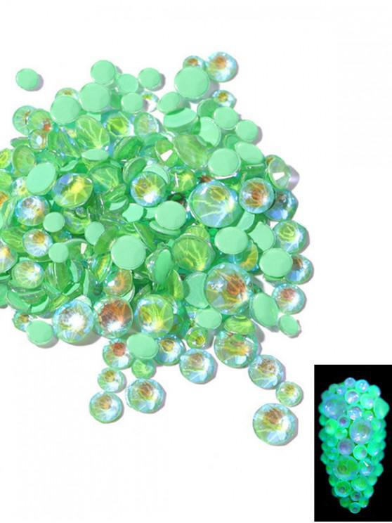 shop Glowing Fluorescent Glitter Faux Diamond Nail Decoration - PINE GREEN