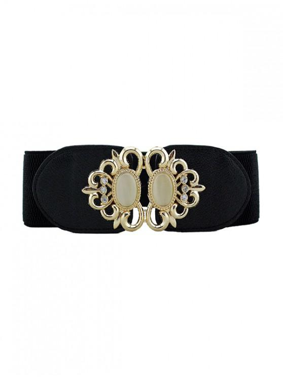fashion Hollow Rhinestone Buckle Elastic Belt - BLACK