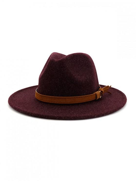 fancy Strap Decorated Fuzzy Jazz Hat - EGGPLANT