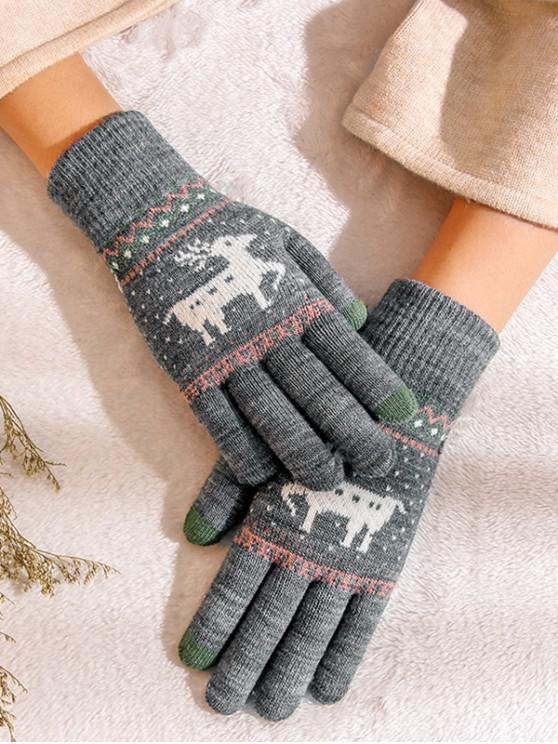 new Christmas Wapiti Pattern Gloves - BATTLESHIP GRAY