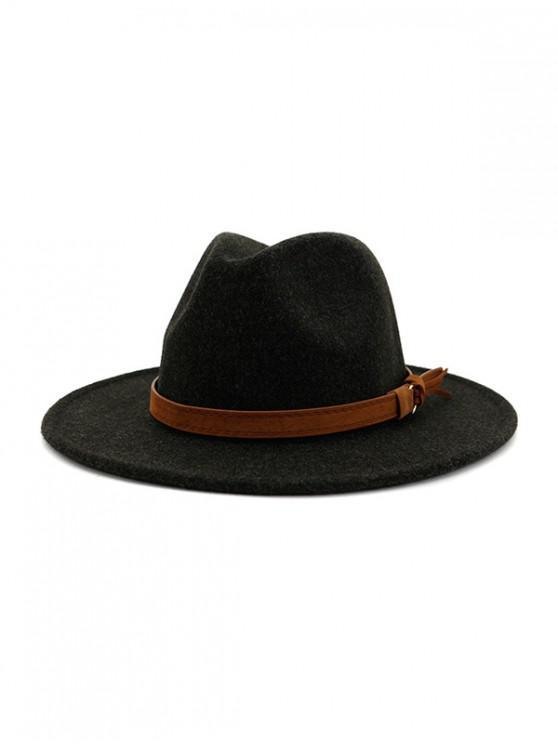 Chapeau de Jazz Fourré Décoré de Corde - Noir