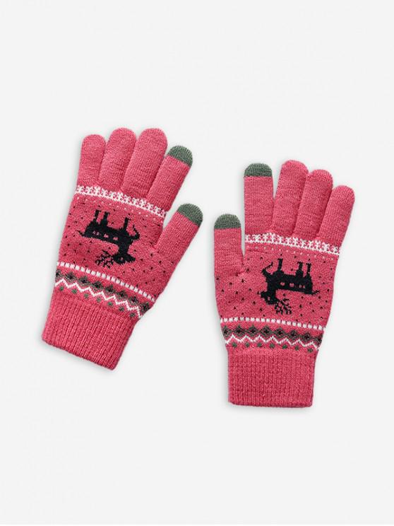 outfits Christmas Wapiti Pattern Gloves - ROSE RED