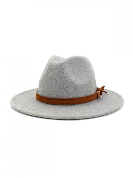 Correa decorado Fuzzy sombrero del jazz - Gris Claro