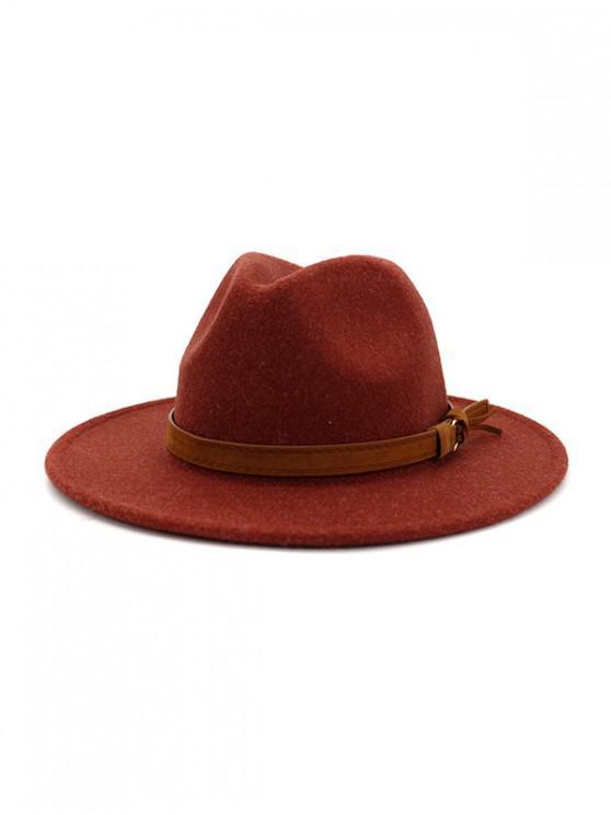 shops Strap Decorated Fuzzy Jazz Hat - RED WINE